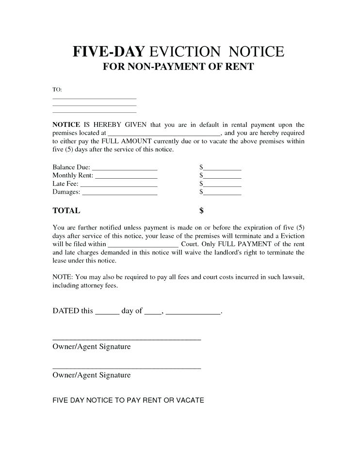 Notice To Vacate Rental Property Free Forms