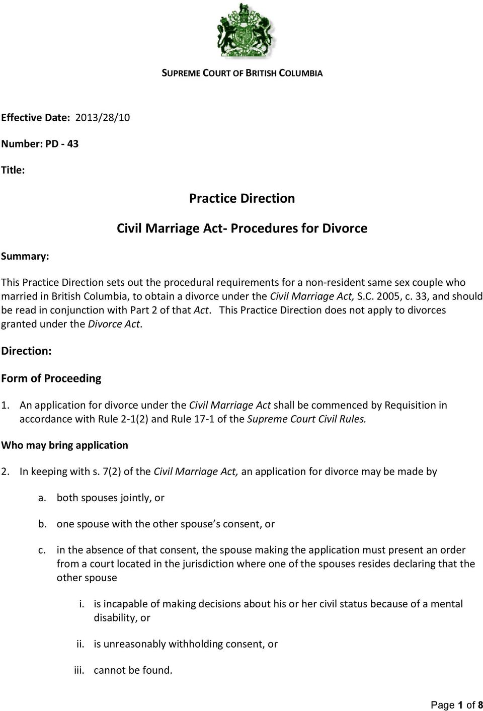 Nova Scotia Supreme Court Divorce Forms