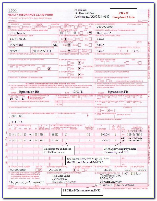 Nucc 1500 Claim Form