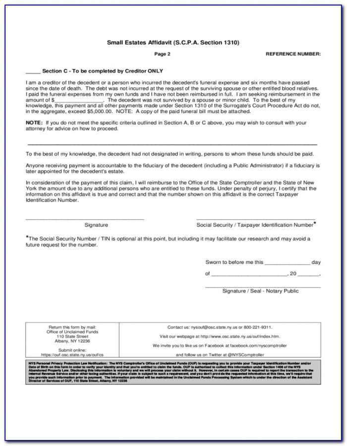 Ny General Affidavit Form