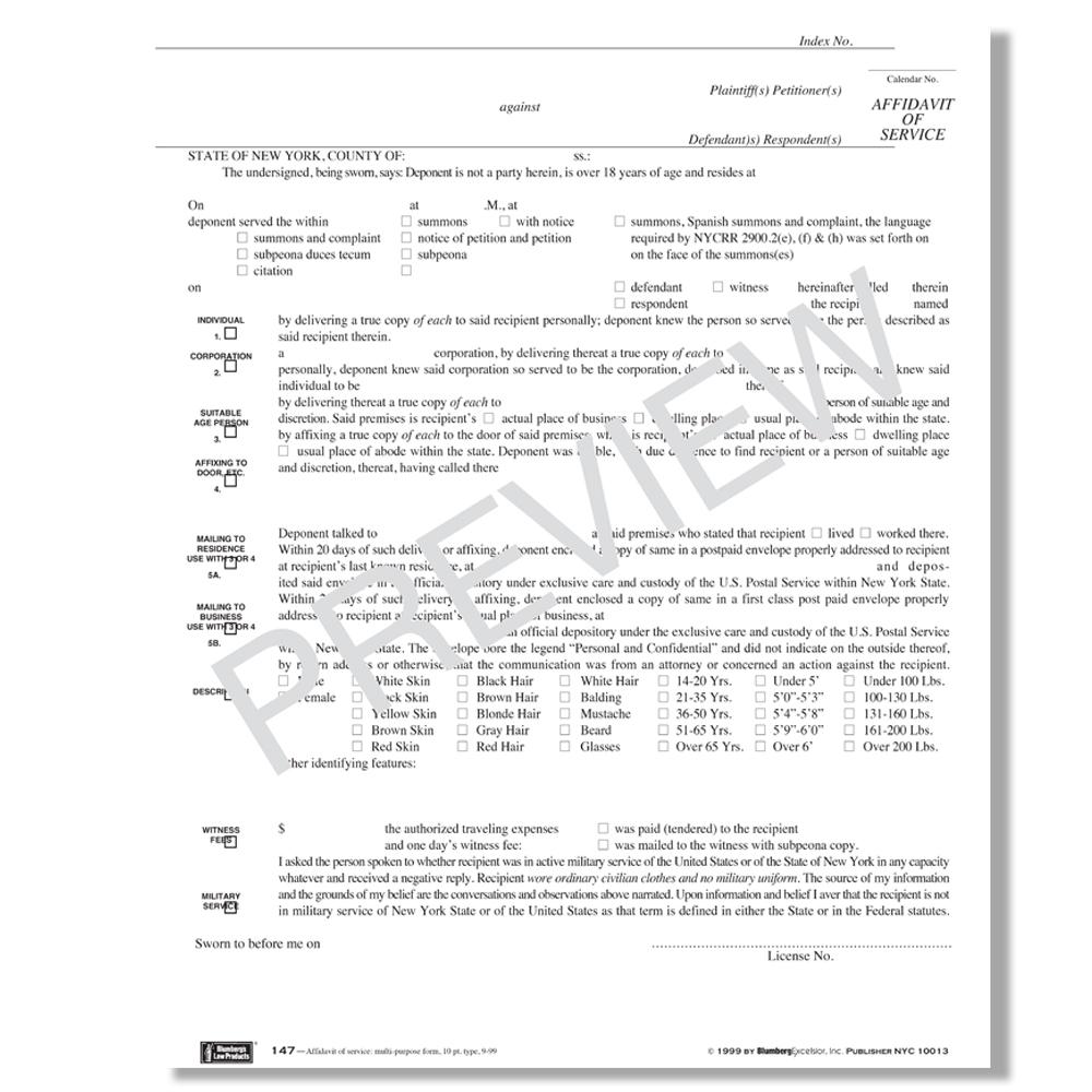 Nys Affidavit Of Personal Service Form