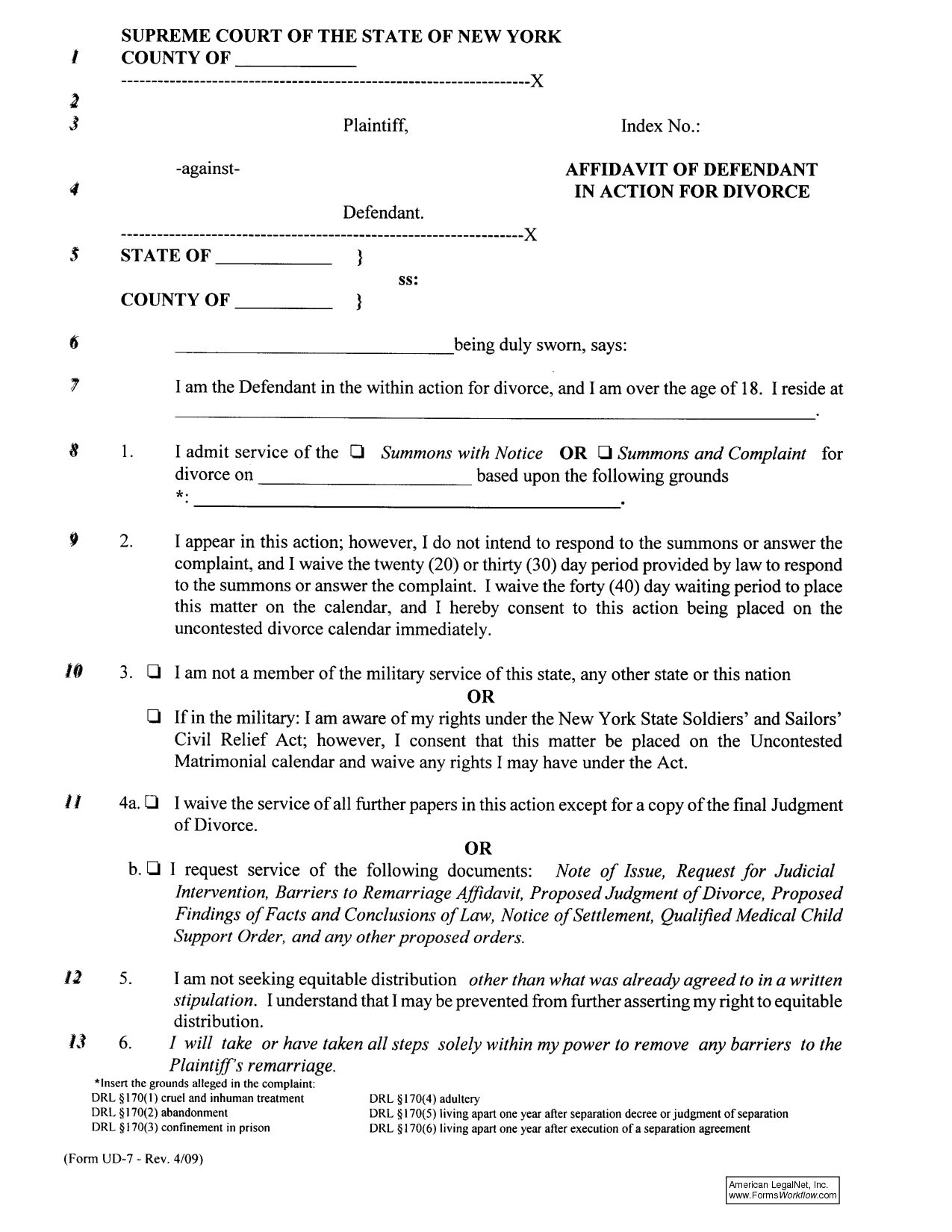 Nys Separation Agreement Sample
