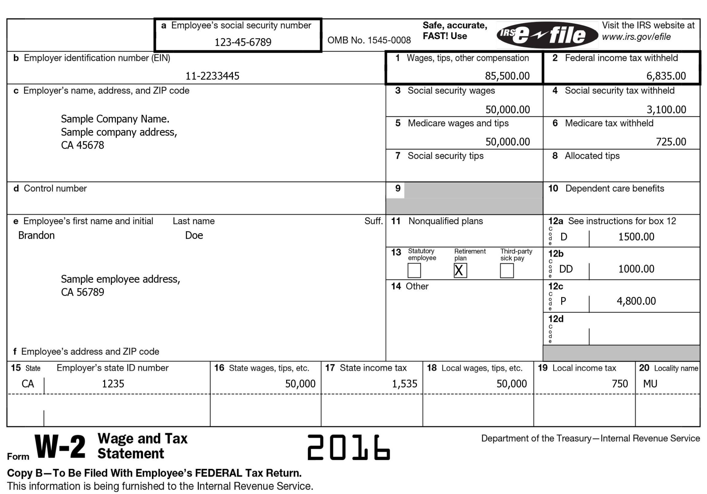 Nys W2 Form 2016