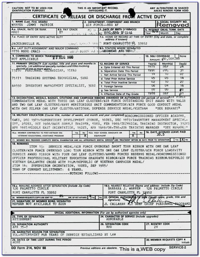 Obtain Dd214 Military Discharge Form