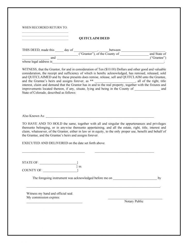 Office Depot Quit Claim Deed Forms