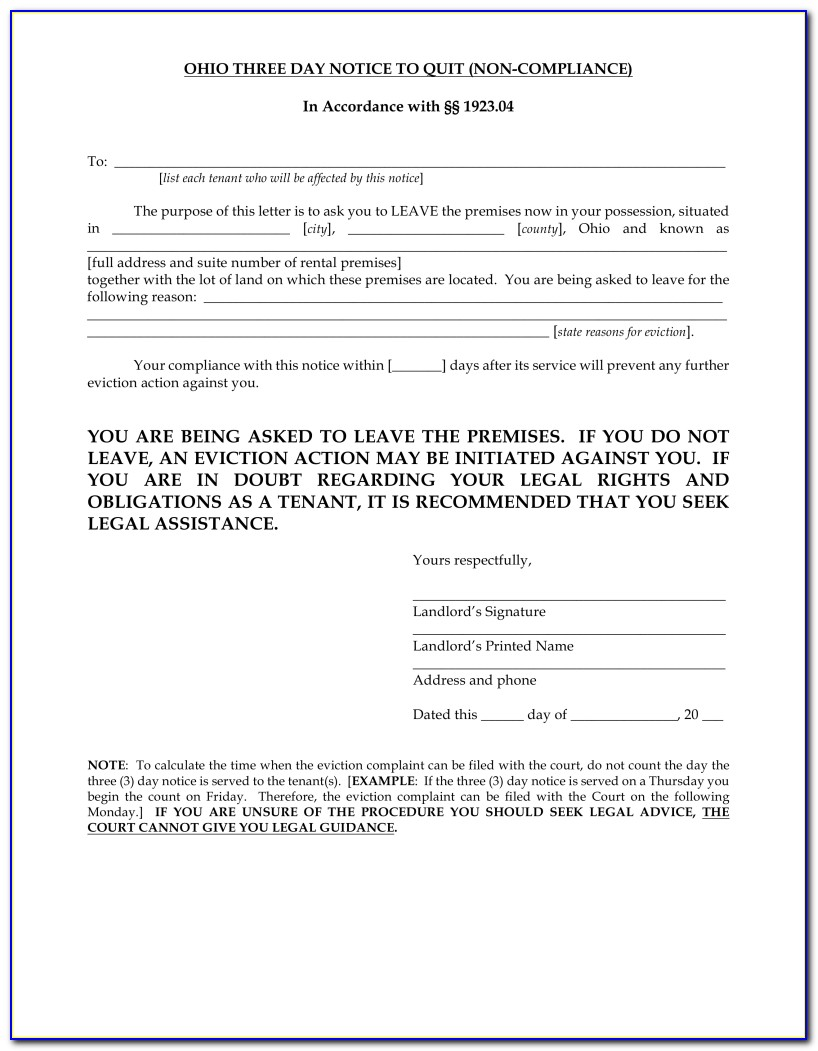 Ohio 3 Day Eviction Notice Form