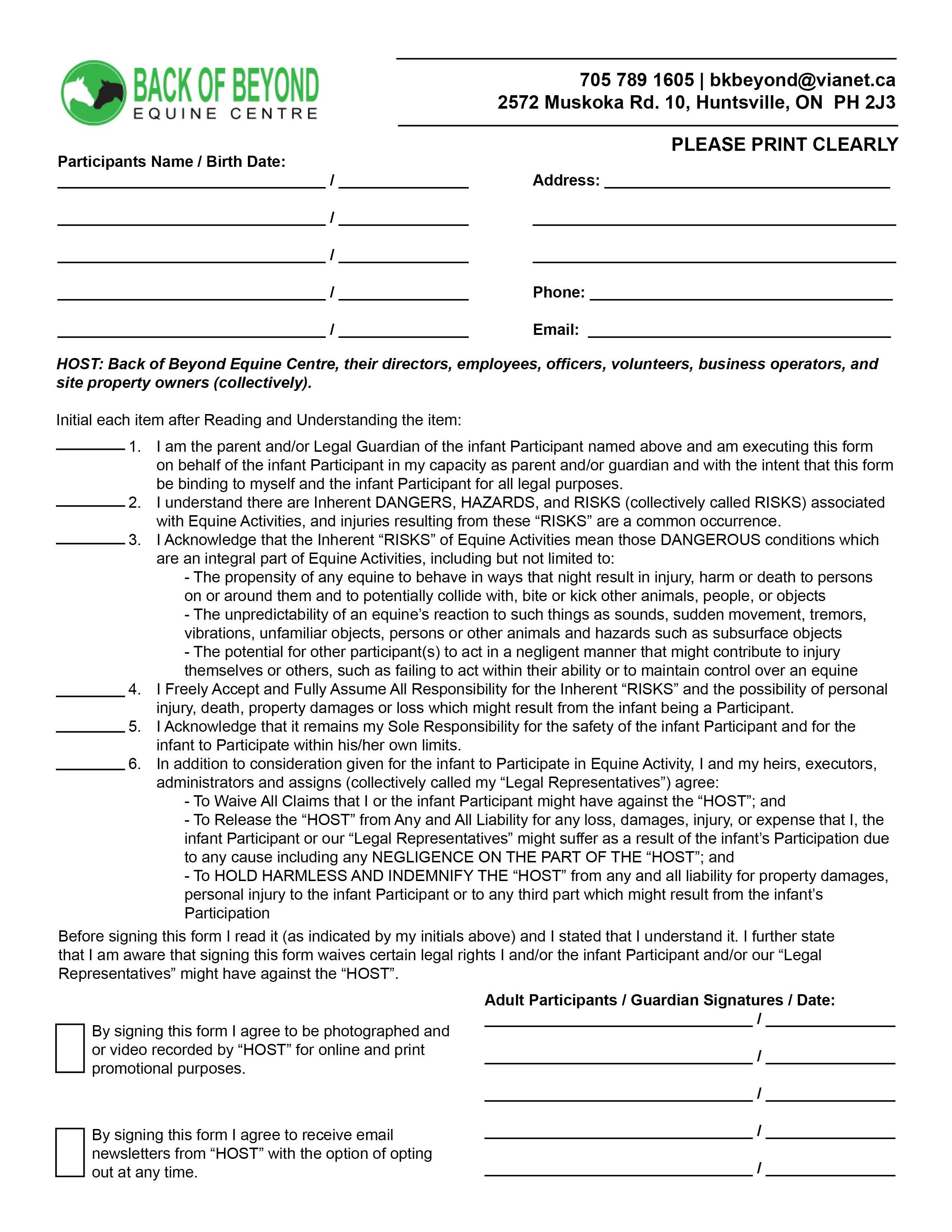 Ohio Equine Liability Release Form