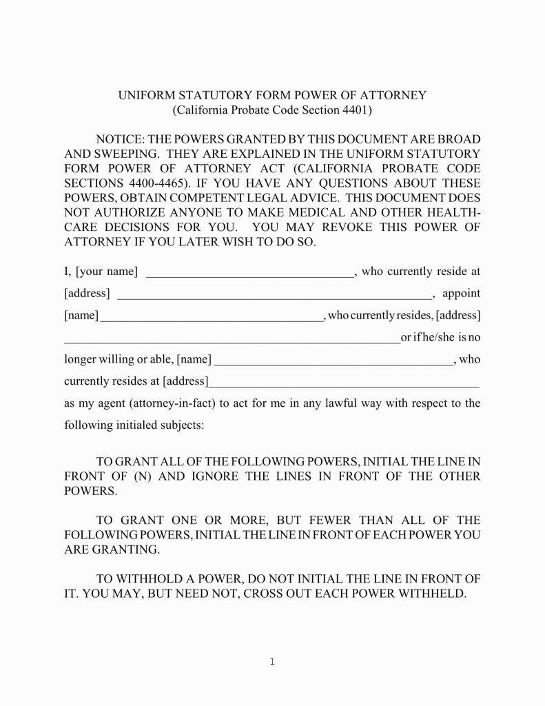 Ohio Statutory Durable Power Of Attorney Form