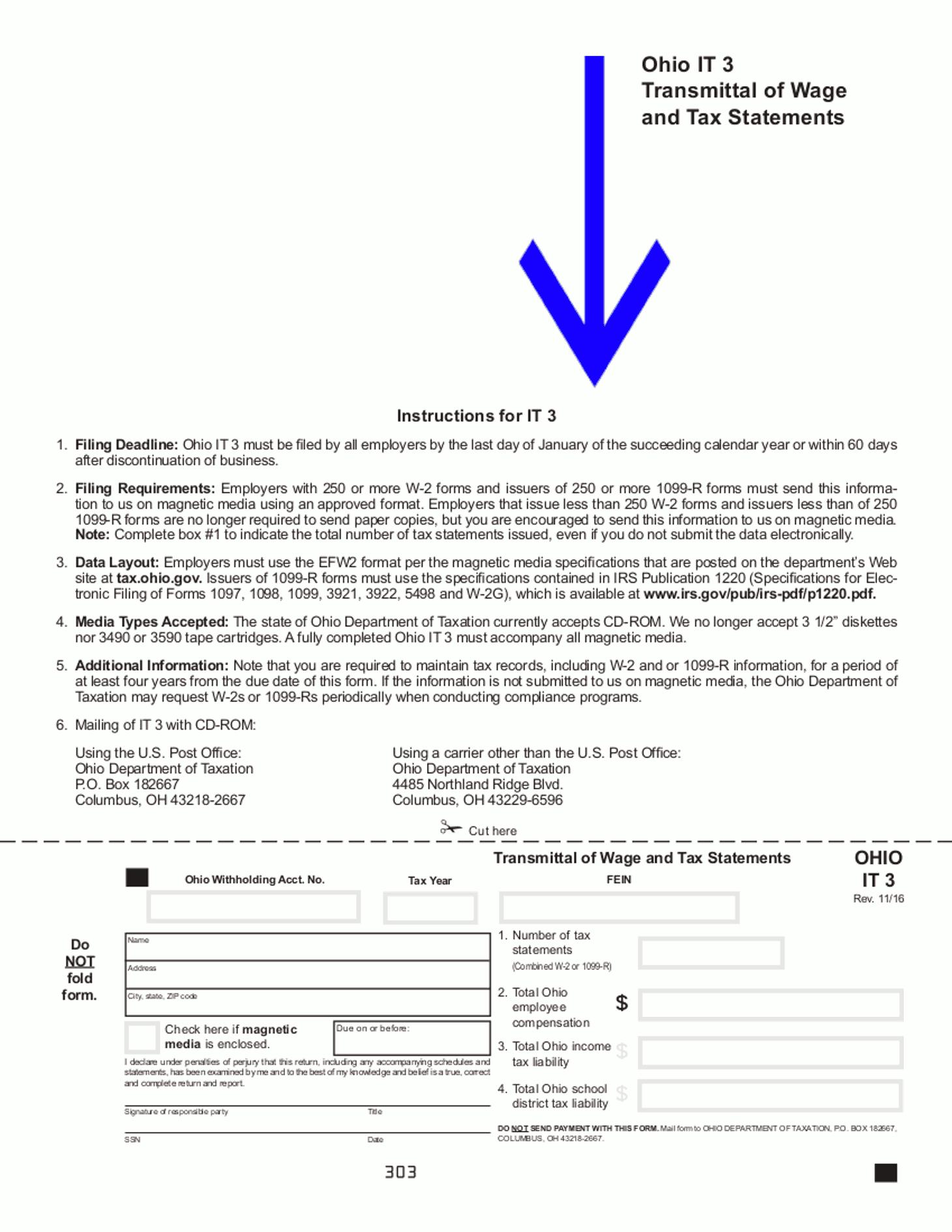 Ohio W2 Transmittal Form