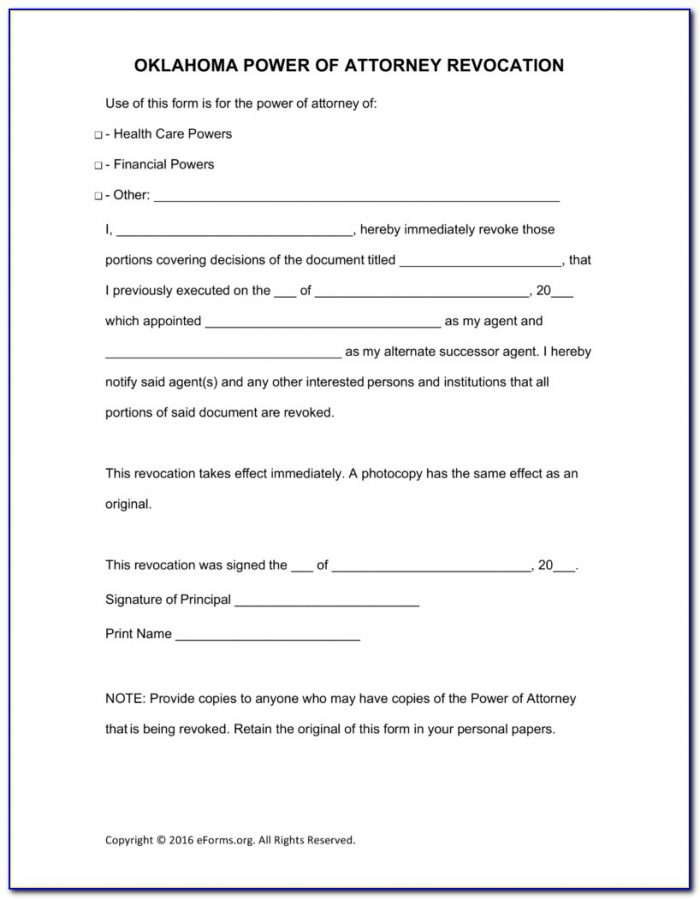 Oklahoma Bar Association Durable Power Of Attorney Form