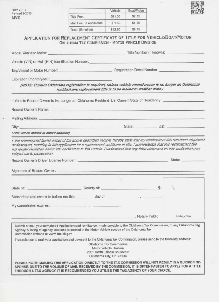 Oklahoma Tax Commission Vehicle Lien Release Form