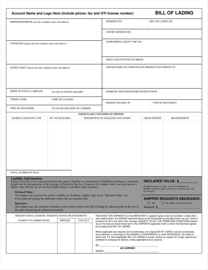 Old Dominion Freight Bill Of Lading Form