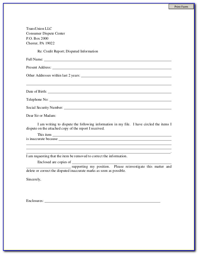 Online Credit Report Dispute Forms