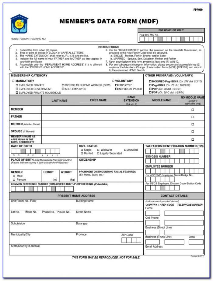Online Pag Ibig Form With Registration Number