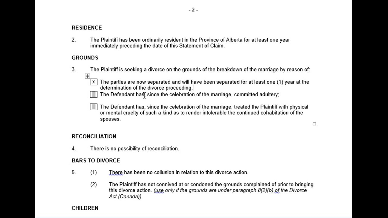 Ontario Supreme Court Divorce Forms