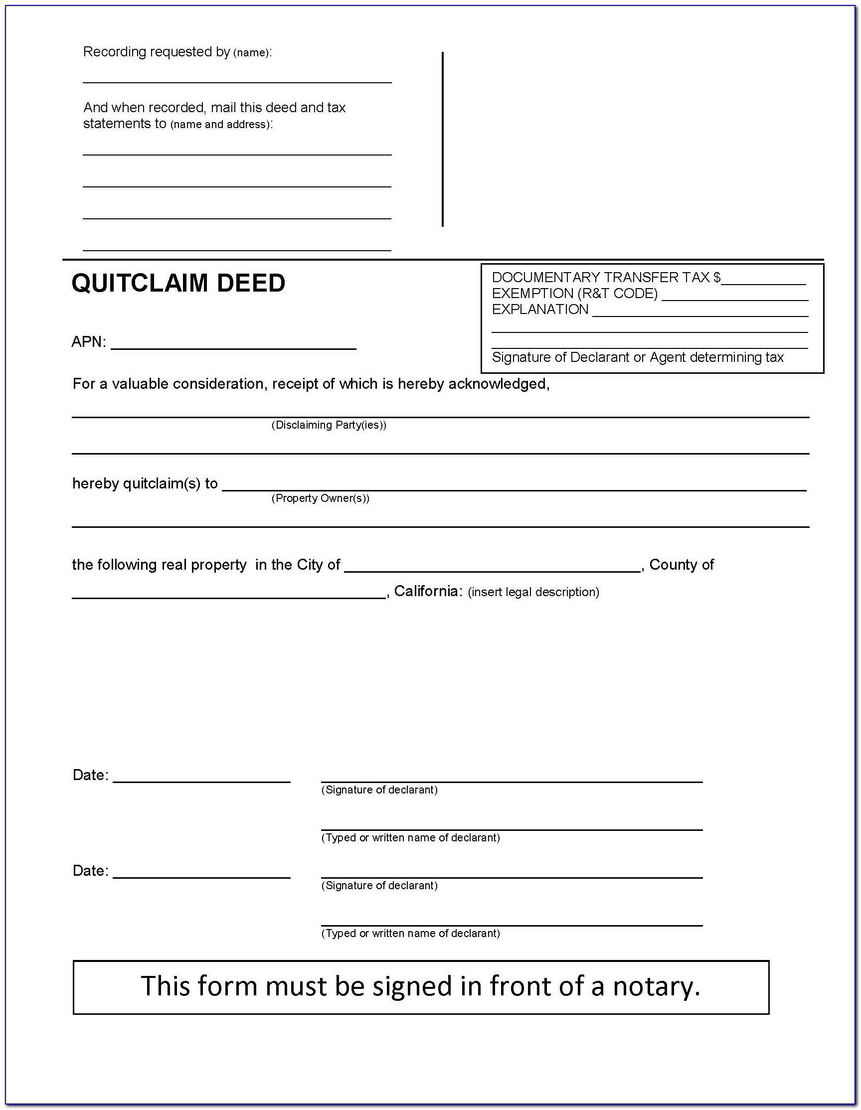Orange County Ca Quit Claim Deed Form