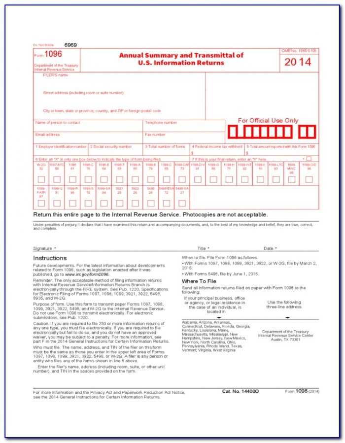 Order 1096 And 1099 Forms