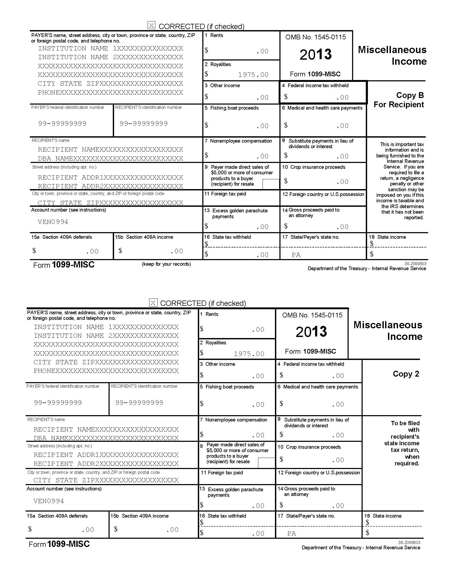 Order Blank 1099 Forms