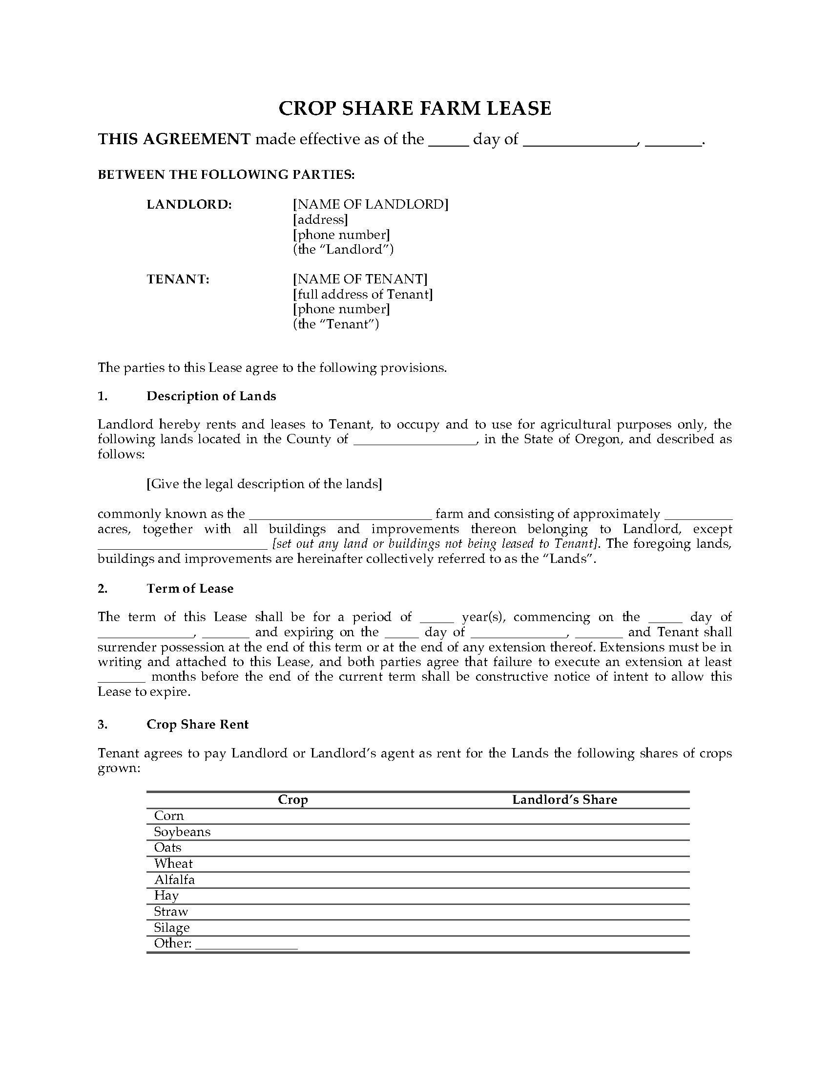 Oregon Farm Lease Forms