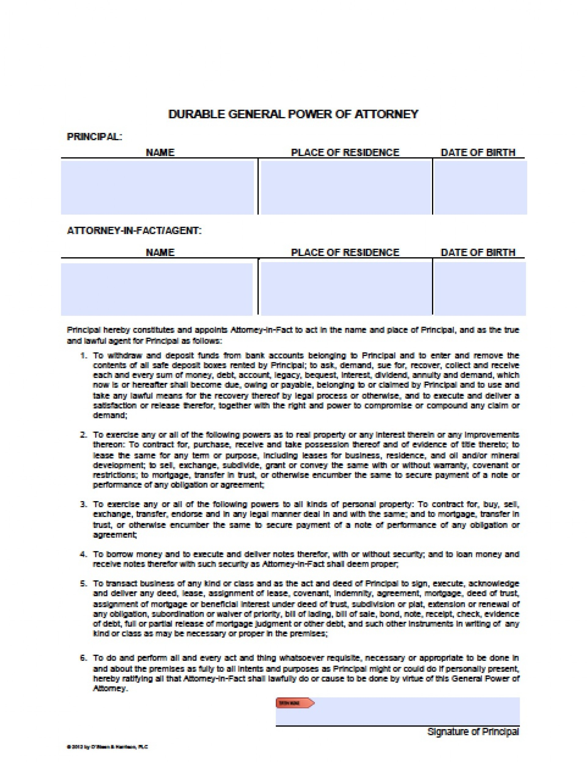 Oregon General Durable Power Of Attorney Form Free