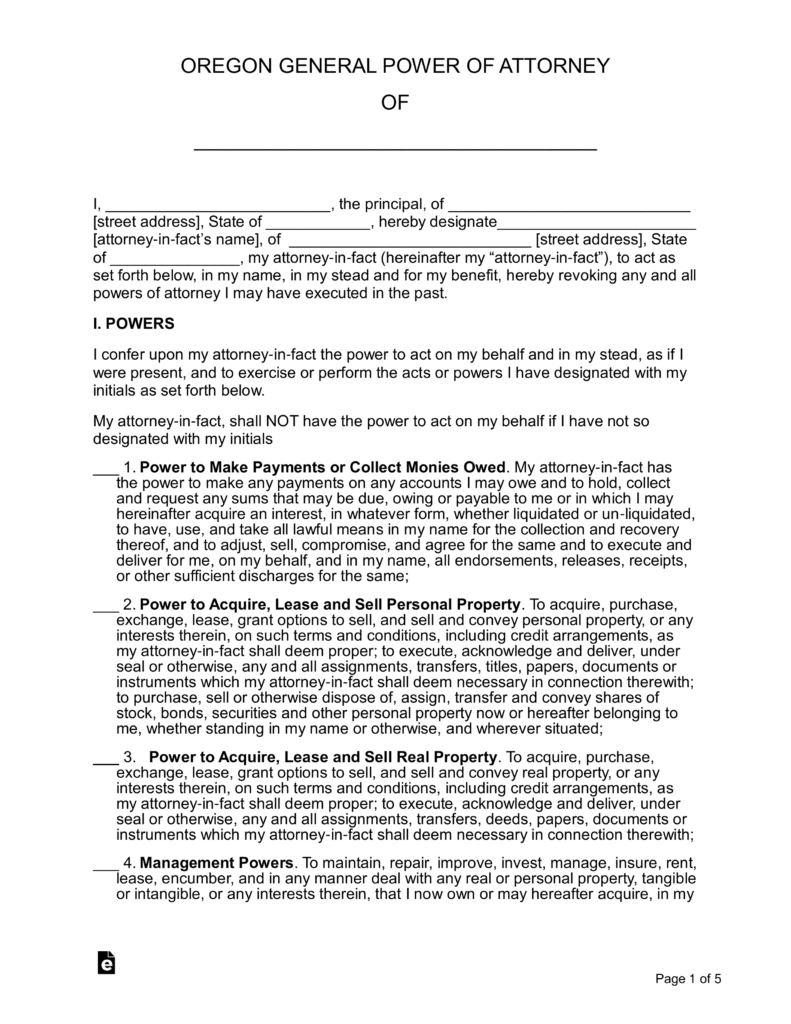 Oregon General Power Of Attorney Form Pdf