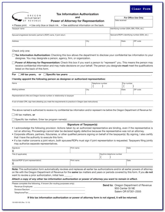 Oregon Power Of Attorney Forms Durable Free