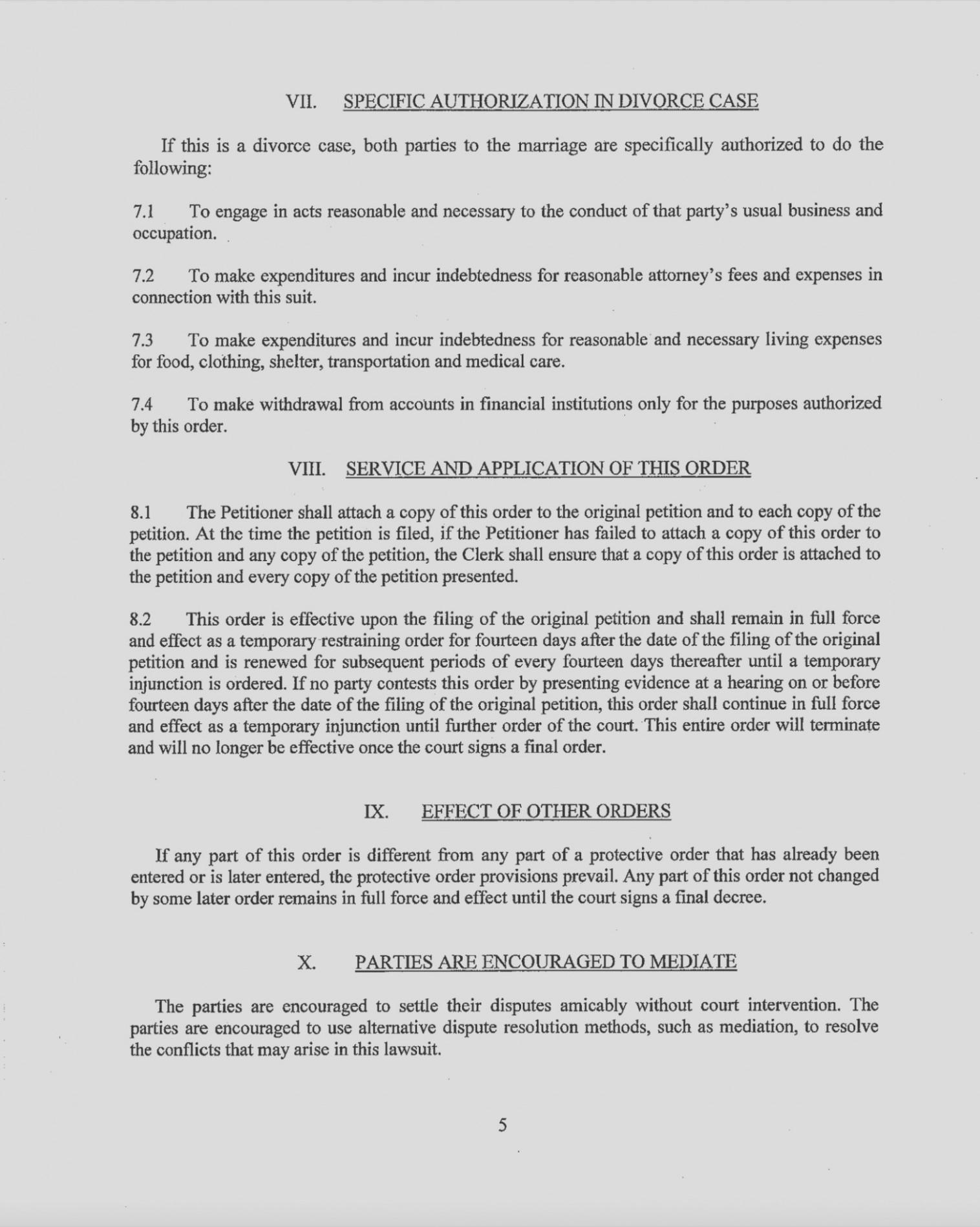 Original Petition For Divorce Form Texas Free