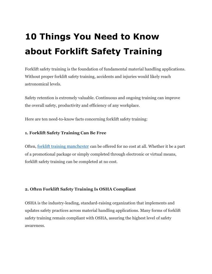 Osha Forklift Training Forms
