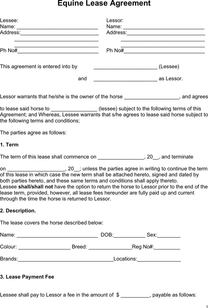 Partial Equine Lease Agreement Form