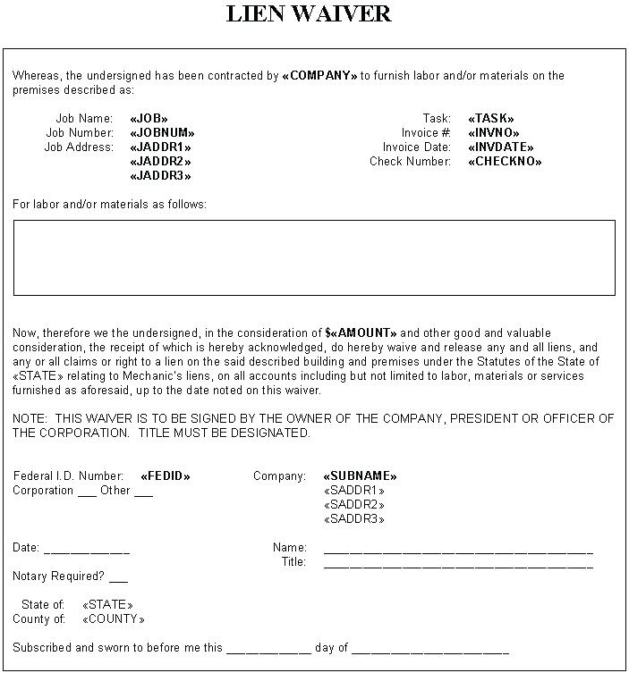 Partial Lien Waiver Form Minnesota