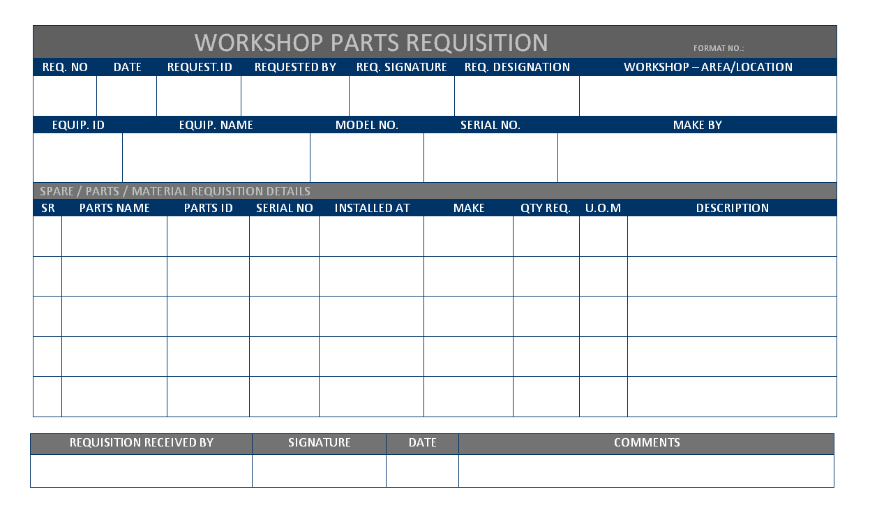 Parts Requisition Form Pdf