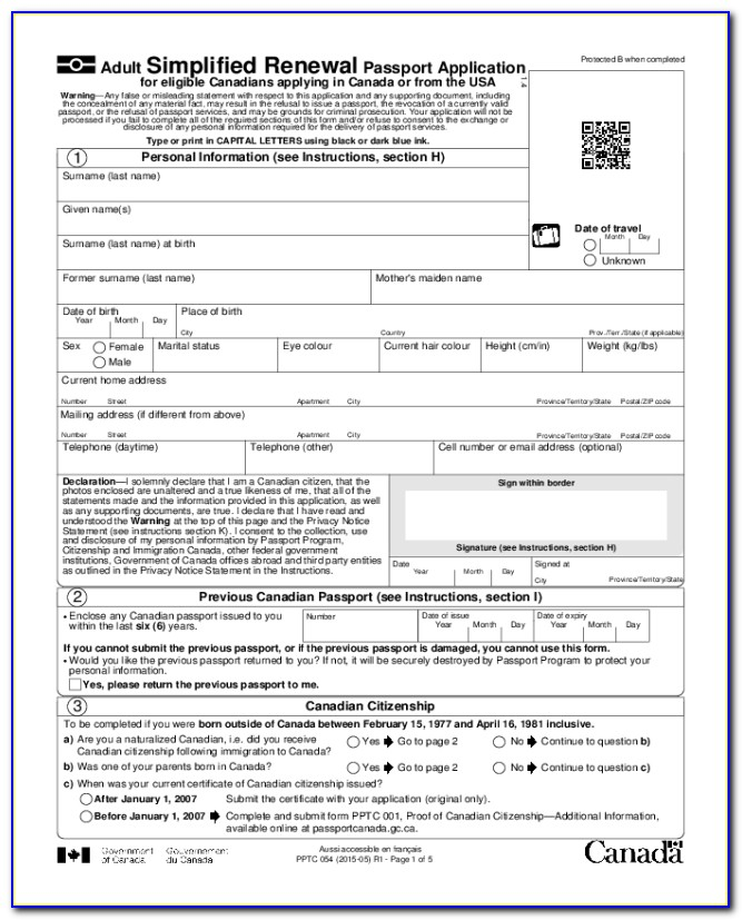 Passport Renewal Form 2018
