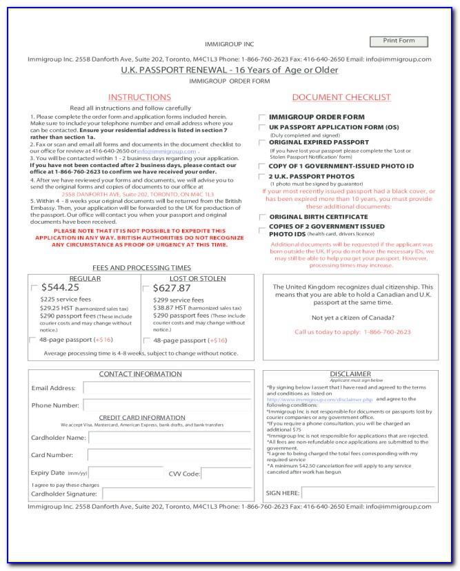 Passport Renewal Forms Printable 2018