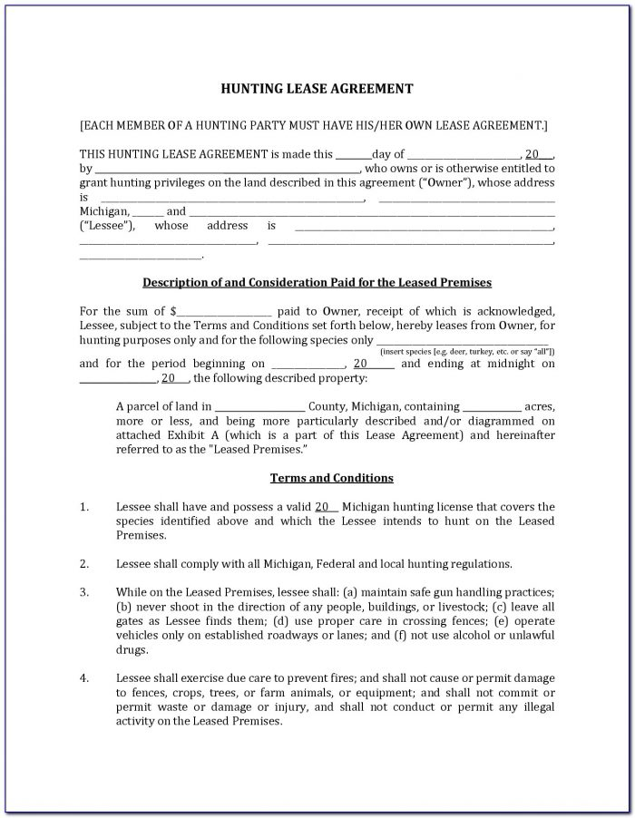 Pasture Lease Form Texas