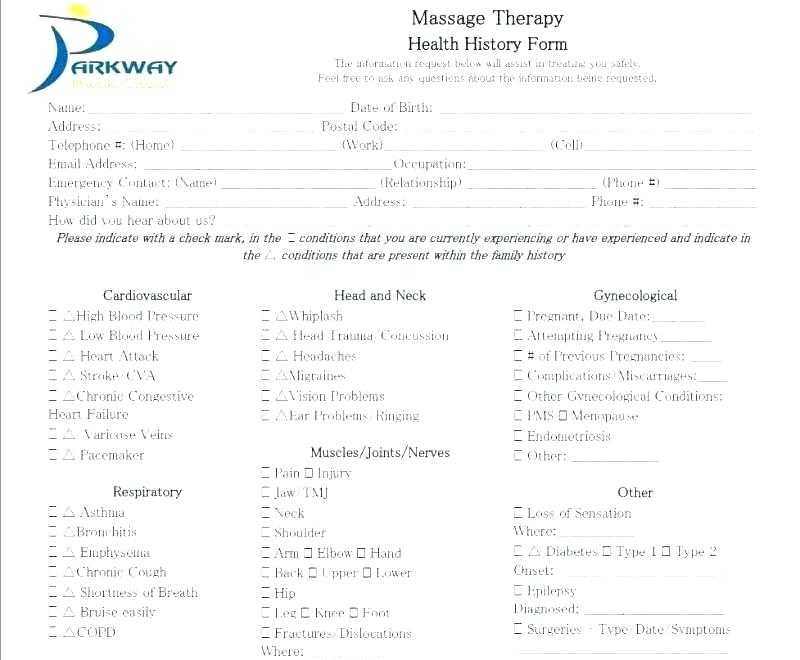 Patient Intake Form Massage Therapy