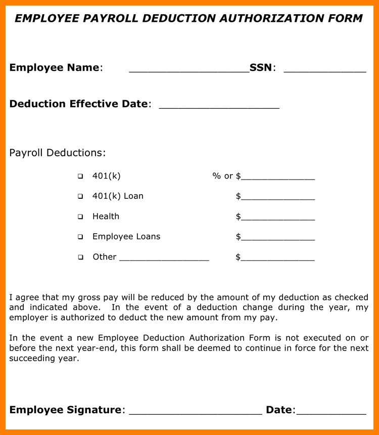 Payroll Deduction Form Sample