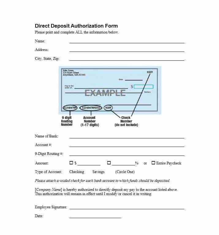 Payroll Direct Deposit Authorization Form Template