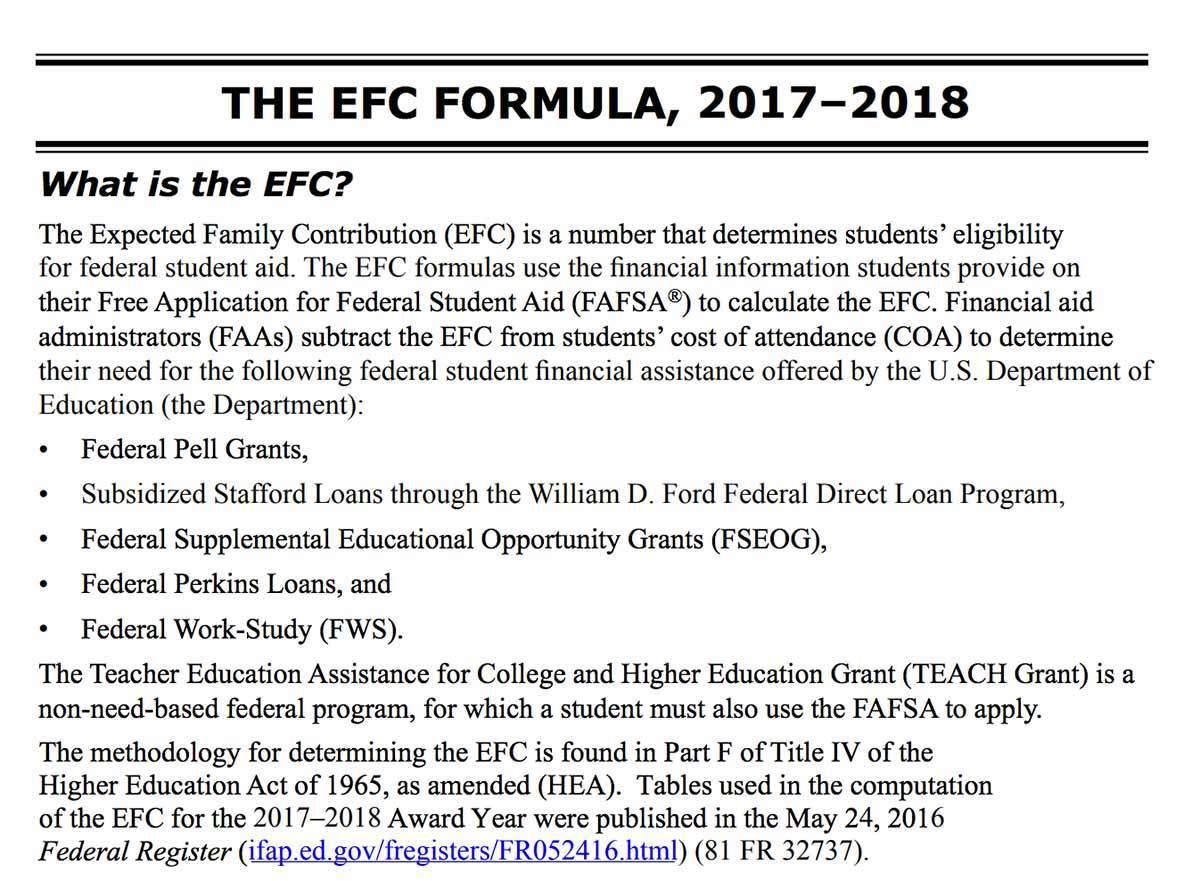 Pell Grant Efc Formula