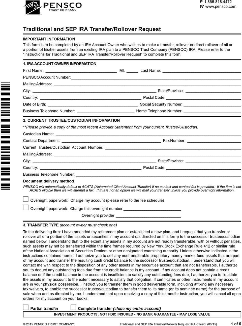 Pensco Ira Distribution Request Form