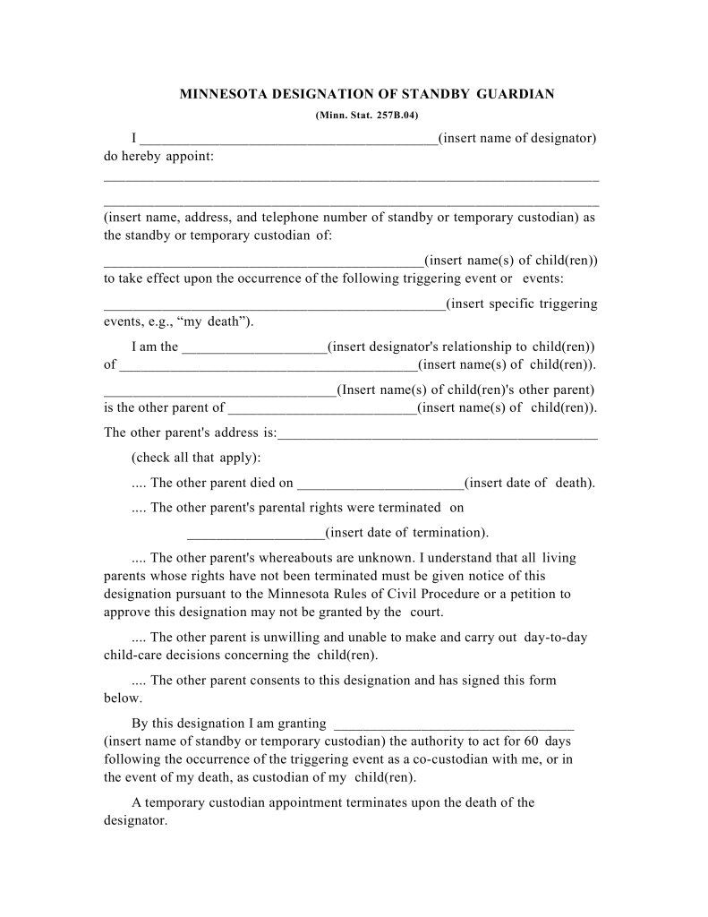 Permanent Guardianship Form In Case Of Parent Death