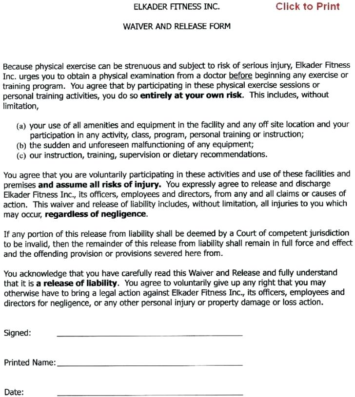 Personal Trainer Waiver And Release Forms