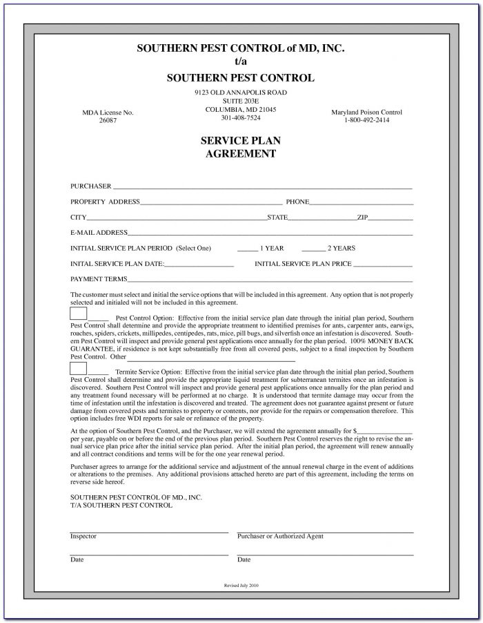 Pest Control Service Agreement Format