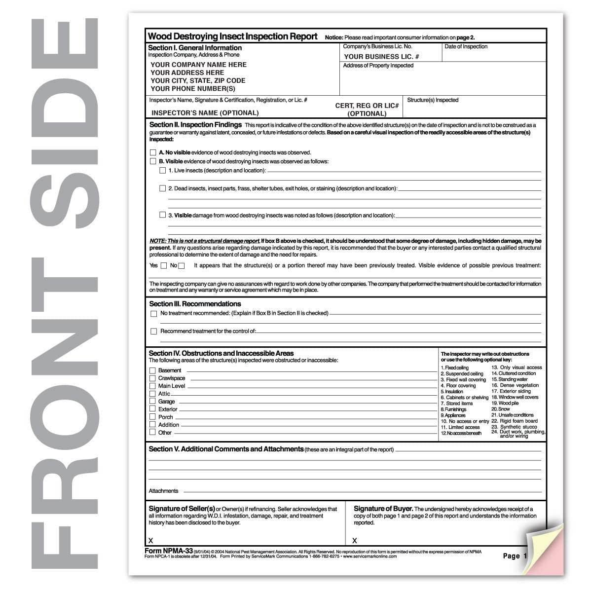 Pest Inspection Template