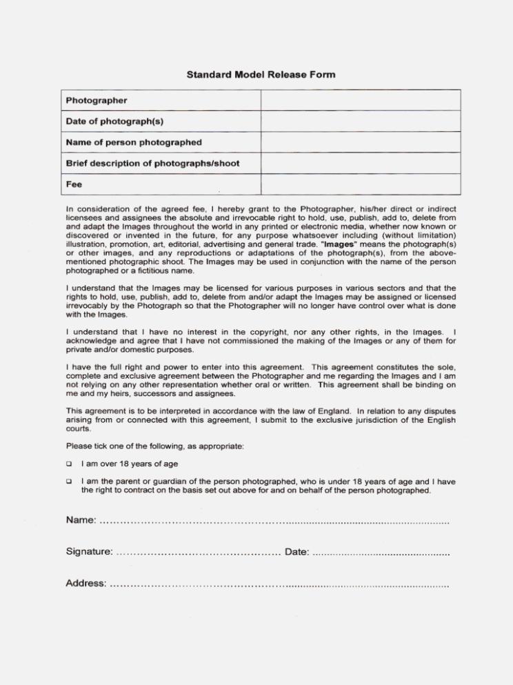 Photo Model Release Form Pdf