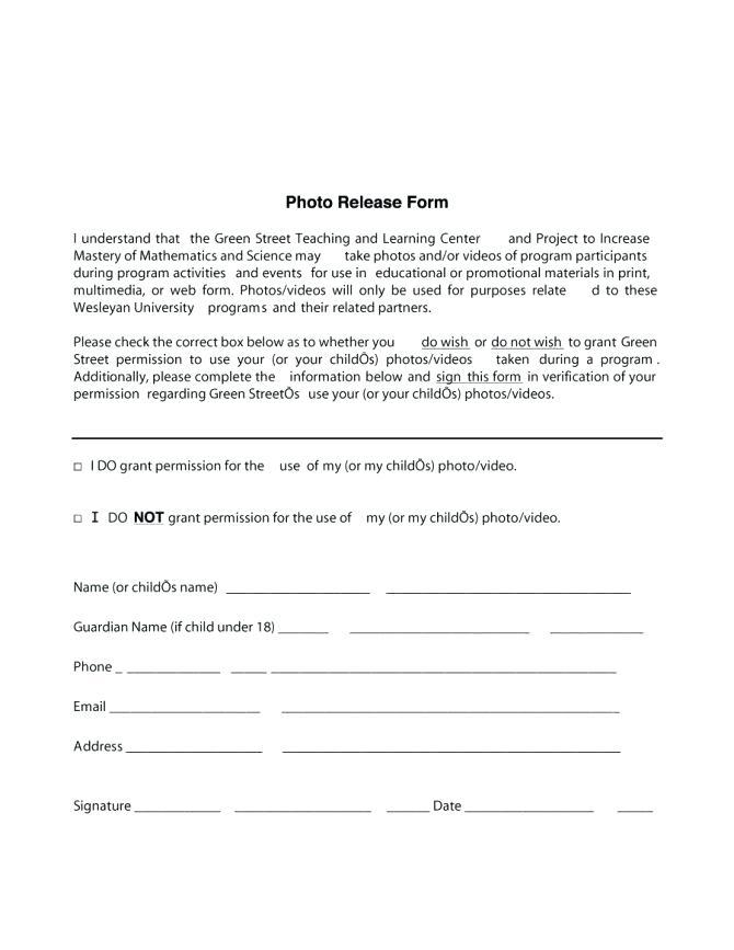 Photo Video Model Release Form