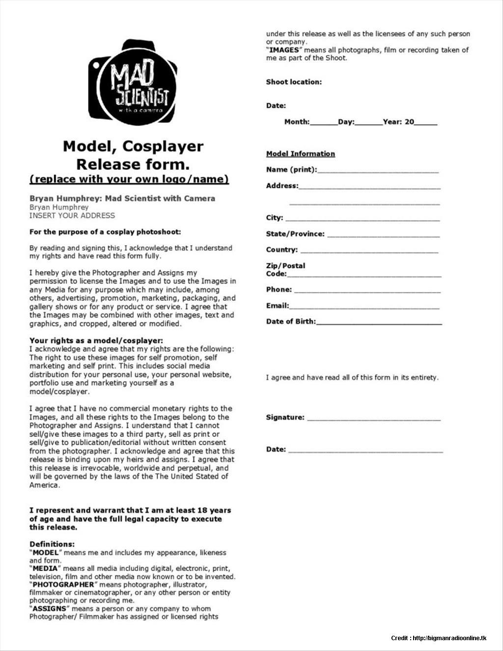 Photographic Model Release Form Australia