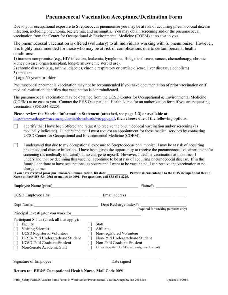 Pneumococcal Immunization Consent Form