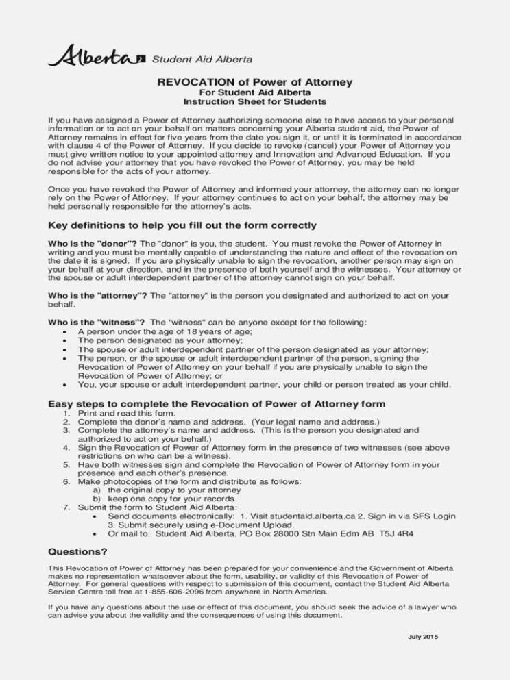 Power Of Attorney Form Alberta Canada