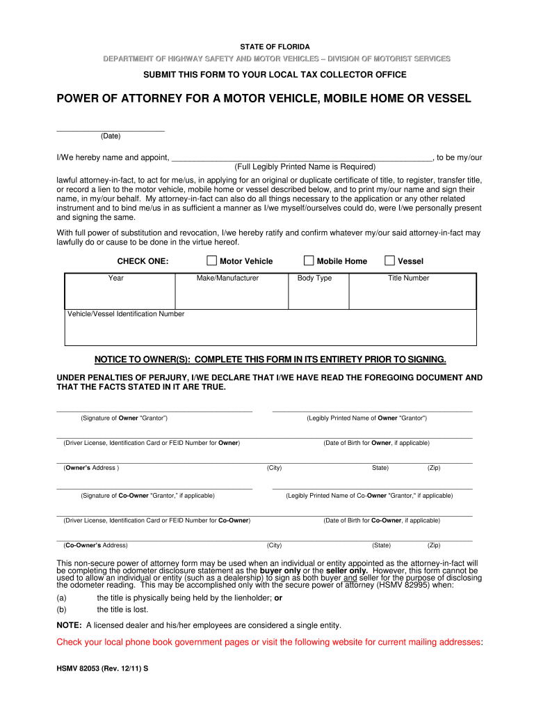 Power Of Attorney Form Florida Free