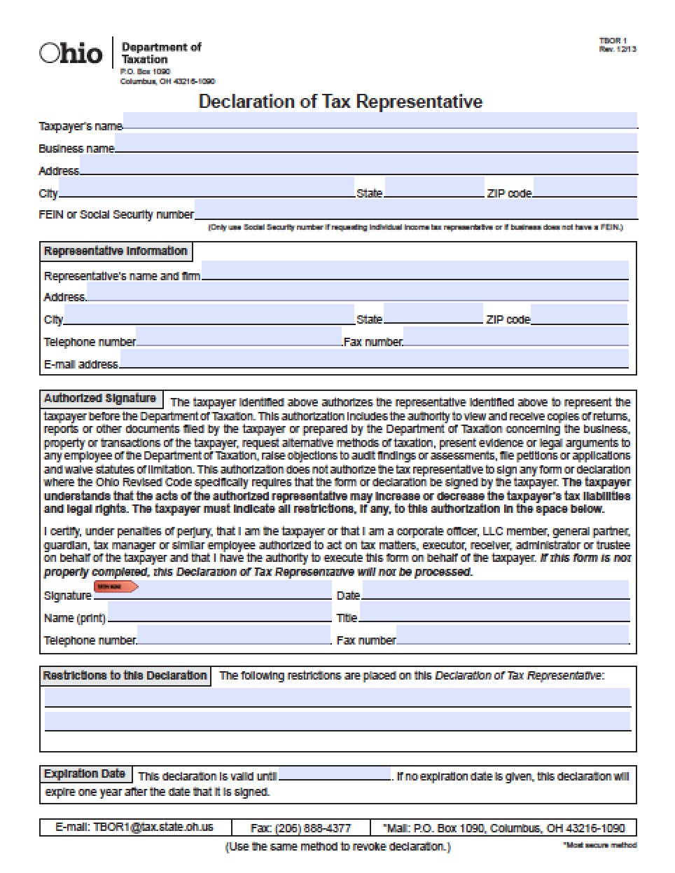 Power Of Attorney Form Ohio Real Estate